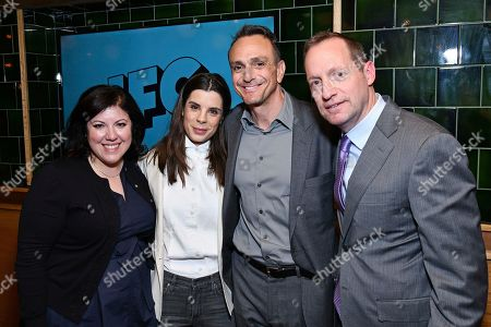 "Stock Image of Christine Lubrano, Meredith MacNeill, Hank Azaria, Ed Carroll. From left, Christine Lubrano, SVP Original Programing, IFC; Meredith MacNeill from IFC's ""Baroness von Sketch Show""; Hank Azaria from the IFC show ""Brockmire""; and Ed Carroll, COO, AMC Networks attend the IFC Upfront luncheon, in New York"