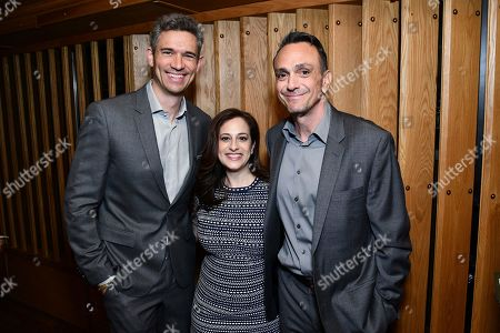 """Stock Picture of Mike Farah, Hank Azaria, Jennifer Caserta. From left, Mike Farah, CEO, Funny or Die; Jennifer Caserta, President, IFC; and Hank Azaria from the IFC show """"Brockmire"""" attend the IFC Upfront luncheon, in New York"""