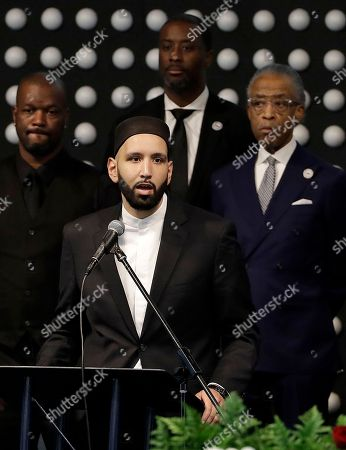 Imam Omar Suleiman speaks  during the funeral services for police shooting victim Stephon Clark at Bayside of South Sacramento Church in Sacramento, California, USA, 29 March 2018.  The 22-year-old unarmed Stephon Clark was fatally shot by Sacramento Police.