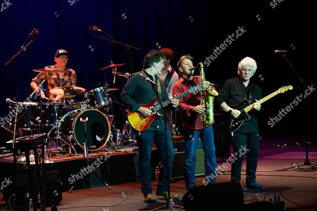 Stock Image of Liberty Devitto, Dennis Delgaudio, Malcolm Gold, Richie Cannata, Russell Javors. Liberty Devitto, from left, Dennis Delgaudio, Malcolm Gold, Richie Cannata and Russell Javors of The Lords of 52nd Street perform at the Duncan Theatre on in Lake Worth, Fla
