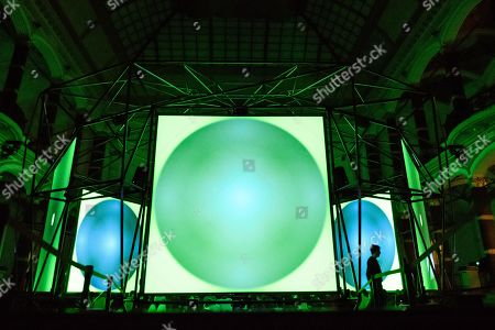 A view of the installation 'Empty Formalism' by British musician Brian Eno during the public opening of the ISM Hexadome in the yard of the Gropius Bau venue in Berlin, Germany, 29 March 2018. The 'ISM Hexadome - Immersive architecture for sound and video art' event runs from 29 March to 22 April.