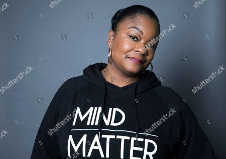 """Rap pioneer Roxanne Shante poses for a portrait in New York to promote the film, """"Roxanne Roxanne"""