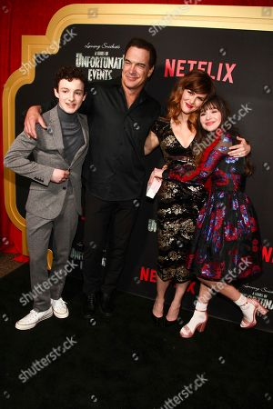 "Louis Hynes, Patrick Warburton, Sara Rue, Malina Weissman. Louis Hynes, from left, Patrick Warburton, Sara Rue and Malina Weissman attend Netflix's ""A Series of Unfortunate Events"" season two premiere at Metrograph, in New York"