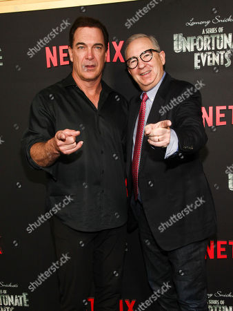 "Patrick Warburton, Barry Sonnenfeld. Patrick Warburton, left, and Barry Sonnenfeld, right, attend Netflix's ""A Series of Unfortunate Events"" season two premiere at Metrograph, in New York"