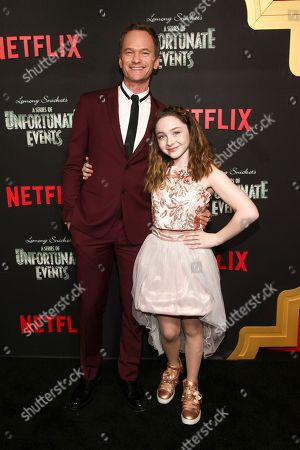 """Neil Patrick Harris, Kitana Turnbull. Neil Patrick Harris, left, and Kitana Turnbull, right, attend Netflix's """"A Series of Unfortunate Events"""" season two premiere at Metrograph, in New York"""