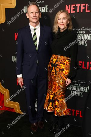 """Bo Welch, Catherine O'Hara. Bo Welch, left, and Catherine O'Hara, right, attend Netflix's """"A Series of Unfortunate Events"""" season two premiere at Metrograph, in New York"""