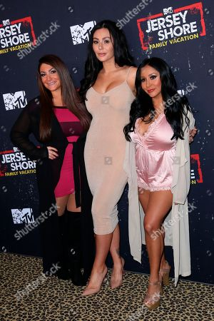 """Deena Nicole Cortese, Jenni 'Jwoww' Farley, Nicole Polizzi. Deena Nicole Cortese, from left, Jenni 'Jwoww' Farley and Nicole Polizzi arrive at the LA Premiere of """"Jersey Shore Family Vacation"""" on Thursday, March 29, in Los Angeles"""
