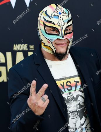 """Stock Image of Professional wrestler Rey Mysterio poses at the premiere of the HBO documentary film """"Andre the Giant"""" at the ArcLight Hollywood, in Los Angeles. The film explores the life of World Wrestling Entertainment legend Andre Rene Roussimoff"""