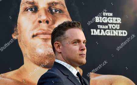 """Jason Hehir, director of the HBO documentary film """"Andre the Giant,"""" poses at the premiere of the film at the ArcLight Hollywood, in Los Angeles. The film explores the life of World Wrestling Entertainment legend Andre Rene Roussimoff"""