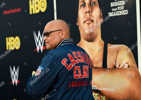 "Comedian Larry Wilmore shows off the back of his jacket at the premiere of the HBO documentary film ""Andre the Giant"" at the ArcLight Hollywood, in Los Angeles. The film explores the life of World Wrestling Entertainment legend Andre Rene Roussimoff"