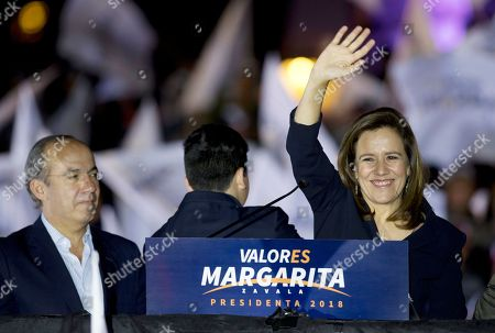 Margarita Zavala, Felipe Calderon. Former first lady and independent presidential candidate Margarita Zavala with Mexico's former President Felipe Calderon, left, waves to supporters during a rally at the start of her electoral campaign in Mexico City, early . Mexico will hold general elections on July 1