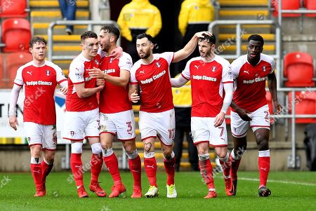 Rotherham United celebrate goal scored by Rotherham United player Caolan Lavery (31) to go 1-0 during the EFL Sky Bet League 1 match between Rotherham United and Peterborough United at the AESSEAL New York Stadium, Rotherham. Picture by Ian Lyall