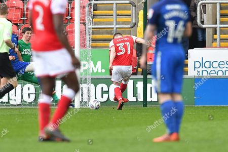 Rotherham United player Caolan Lavery (31) scores goal to go 1-0  during the EFL Sky Bet League 1 match between Rotherham United and Peterborough United at the AESSEAL New York Stadium, Rotherham. Picture by Ian Lyall