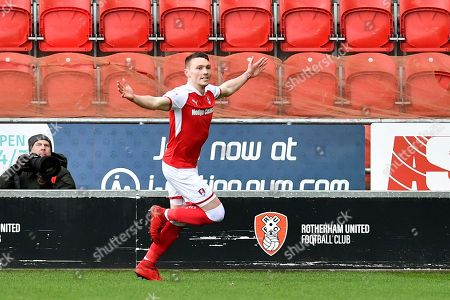 Rotherham United player Caolan Lavery (31) celebrates scoring goal to go 1-0  during the EFL Sky Bet League 1 match between Rotherham United and Peterborough United at the AESSEAL New York Stadium, Rotherham. Picture by Ian Lyall