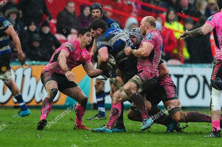 James Phillips of Bath Rugby is tackled by Matt Kvesic of Exeter Chiefs during the Anglo Welsh Cup Final Match between Bath Rugby and Exeter Chiefs at Kingsholm Stadium, Gloucester, Gloucestershire on March 30.