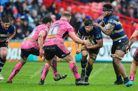 Charlie Ewels, Captain of Bath Rugby is tackled by Moray Low of Exeter Chiefs during the Anglo Welsh Cup Final Match between Bath Rugby and Exeter Chiefs at Kingsholm Stadium, Gloucester, Gloucestershire on March 30.
