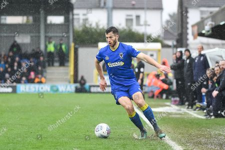 AFC Wimbledon Defender Jonathan Meades (3) in action during the EFL Sky Bet League 1 match between AFC Wimbledon and Fleetwood Town at the Cherry Red Records Stadium, Kingston. Picture by Stephen Wright