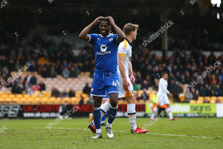 Chesterfield's Zavon Hines dejected following a missed chance