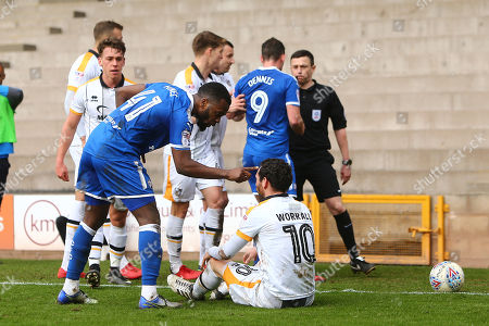 Stock Picture of Chesterfield's Zavon Hines has words with Port Vale's David Worrall