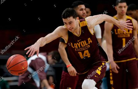Loyola's Ben Richardson (14) chases the ball during a practice session for the Final Four NCAA college basketball tournament, in San Antonio