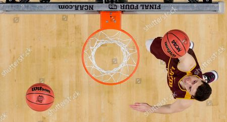 Loyola-Chicago's Ben Richardson goes up for a shot during a practice session for the Final Four NCAA college basketball tournament, in San Antonio