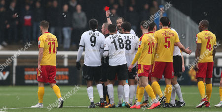 Roger Johnson of Bromley is shown a red card and sent off after his tackle on Sam Wedgbury of Wrexham during the National League match between Bromley v Wrexham on 30th March 2018 at Hayes Lane Stadium, Bromley.