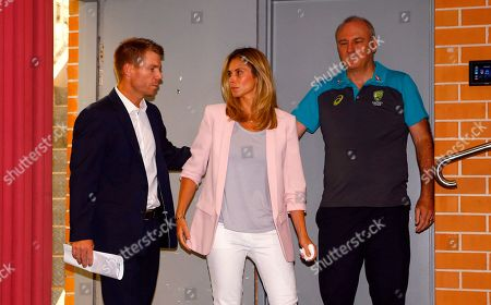 Former Australian cricket vice captain David Warner arrives to a press conference accompanied by his wife Candice in Sydney, after being sent home from South Africa following a ball tampering scandal. Warner and captain Steve Smith were banned for 12 months while young batsman Cameron Bancroft received 9 months after an investigation into the Australian cricket team's cheating scandal identified Warner as the instigator of the ball tampering plan that unraveled in South Africa