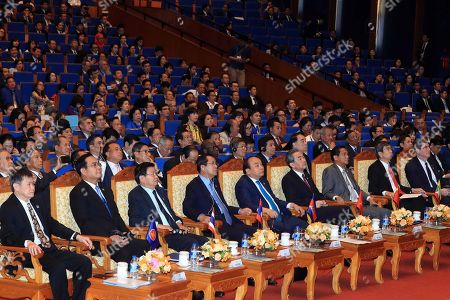 Mekong countries leaders;  (L-R) ASEAN Secretary General Lim Jock Hoi, Thailand's Prime Minister Prayut Chan-o-cha, Laos' Prime Minister Thongloun Sisoulith, Cambodia's Prime Minister Hun Sen, Vietnam's Prime Minister Nguyen Xuan Phuc, Chinese State Councilor and Foreign Minister Wang Yi, Myanmar's Vice President Henry Van Thio, President of the Asian Development Bank Takehiko Nakao and Managing Director and World Bank Group Chief Financial Officer Joaquim Levy; attend the sixth Greater Mekong Sub-region Summit in Hanoi, Vietnam, 31 March 2018. Vietnam is hosting the sixth Greater Mekong Sub-Region Summit (GMS-6) and 10th Cambodia-Laos-Vietnam Development Triangle Summit (CLV-10) from 30 to 31 March 2018 in Hanoi.