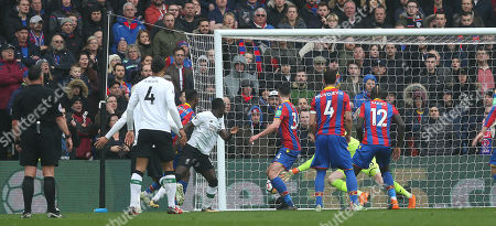 Sadio Mane of Liverpool has his goal ruled out by Referee, Neil Swarbrick during the Premier League match between Crystal Palace and Liverpool on 31st March 2018 at Selhurst Park Stadium, Croydon, London.