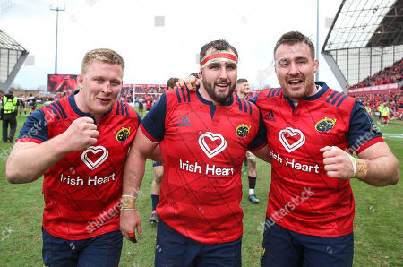 Munster vs RC Toulon. Munster's John Ryan, James Cronin and Niall Scannell celebrate after the game
