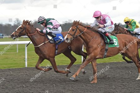 (L) Inn The Bull (Tom Marquand) wins The Matchbook Casino Handicap Stakes from (R) Stanley (Shane Kelly).
