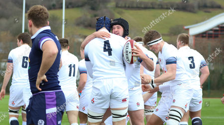 Scotland U18 v England U18, U18s Six Nations Festival, Ystrad Mynach- George Martin of England celebrates with Bevan Rodd of England after scoring the opening try