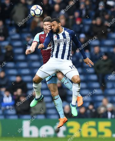 Stephen Ward of Burnley and Matt Phillips of West Bromwich Albion