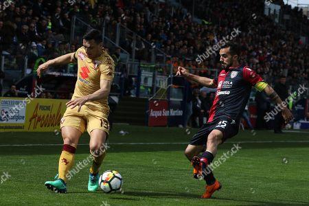 Cagliari's Marco Sau (R) and Torino's Nicolas Burdisso in action during the Italian Serie A soccer match Cagliari Calcio vs Torino FC at Sardegna Arena stadium in Cagliari, Sardinia island, Italy, 31 March 2018.