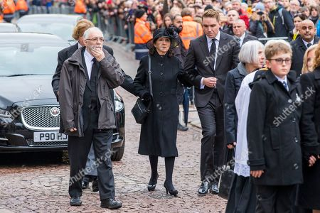 Jane Hawking (C) at the funeral of Stephen Hawking at Church of St Mary the Great in Cambridge, Cambridgeshire.