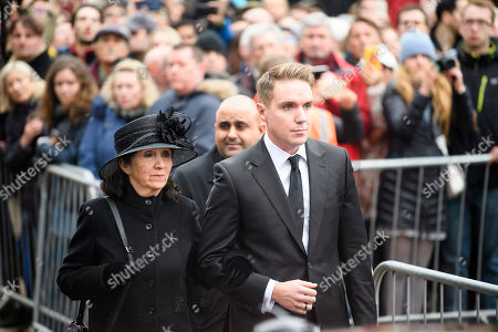Jane Hawking (former wife) and Timothy Hawking (son) attend The funeral of Stephen Hawking at Church of St Mary the Great in Cambridge, Cambridgeshire.