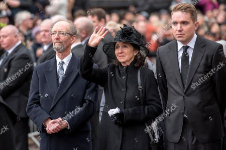 Stock Picture of Jane Hawking waves a final goodbye to the Professor