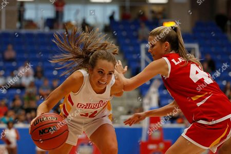 Rachel DeMita, Allie LaForce. Rachel DeMita, of Team Pringles, left, looks to pass the ball to another teammate as Allie LaForce, of Team Cheez-It, defends at the Northside Sports Gym during the Celebrity Crunch Classic presented by Cheez-It and Pringles, in San Antonio