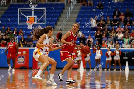 Rachel DeMita, Allie LaForce. Rachel DeMita, of Team Pringles, left, defends Allie LaForce, of Team Cheez-It, during the Celebrity Crunch Classic presented by Cheez-It and Pringles at the Northside Sports Gym, in San Antonio