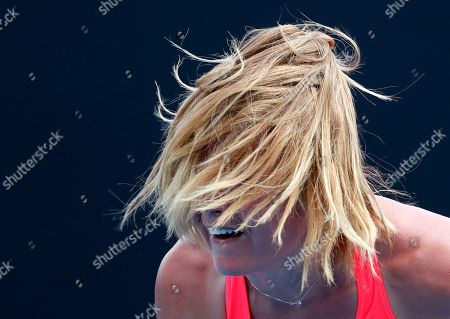 Stock Picture of Italy's Karin Knapp serves to Taiwan's Hsieh Su-Wei during their first round match at the Australian Open tennis championships in Melbourne, Australia