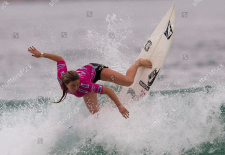 Hawaian Coco Ho competes during the final of the Association of Surfing Professionals (ASP) Billabong Rio Pro women's surfing competition at Barra da Tijuca beach in Rio de Janeiro, Brazil