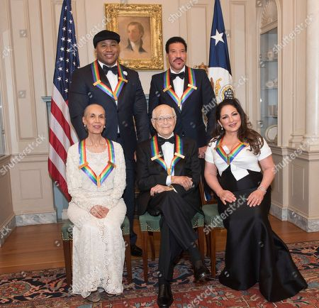 Carmen de Lavallade, Norman Lear, Gloria Estefan, LL Cool J, Lionel Richie. Front row from left, 2017 Kennedy Center Honorees Carmen de Lavallade, Norman Lear, Gloria Estefan, back row from left, LL Cool J, and Lionel Richie are photographed following the State Department dinner for the Kennedy Center Honors, in Washington
