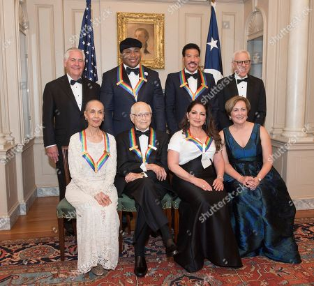 Gloria Estefan, Carmen de Lavallade, Norman Lear, Gloria Estefan, Rex Tillerson, Deborah F. Rutter, Lionel Richie, LL Cool J, David M. Rubenstein. Front row from left, 2017 Kennedy Center Honorees Carmen de Lavallade, Norman Lear, Gloria Estefan and Kennedy Center President Deborah F. Rutter, back row from left, Secretary of State Rex Tillerson, 2017 Kennedy Center Honorees LL Cool J, Lionel Richie, and Kennedy Center Chairman David M. Rubenstein are photographed following the State Department dinner for the Kennedy Center Honors, in Washington