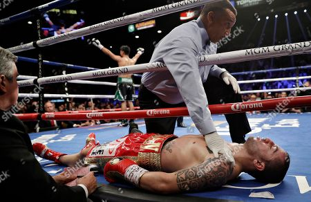 Dejan Zlaticanin, of Montenegro, lies on the mat after he was knocked out by Mikey Garcia during a lightweight title boxing match, in Las Vegas
