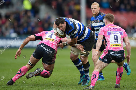 James Phillips of Bath Rugby takes on the Exeter Chiefs defence
