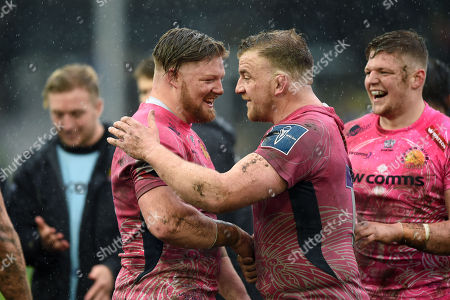 Stock Picture of Jack Owlett and Moray Low of Exeter Chiefs celebrate after the match