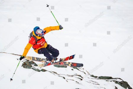 """Stock Photo of Markus Eder from Italy competes to win the third place of the Mens Skiing event during the Verbier Xtreme Freeride World Tour (FWT) finals on the """"Bec des Rosses"""" mountain above the alpine resort of Verbier, Switzerland, 02 April 2018."""