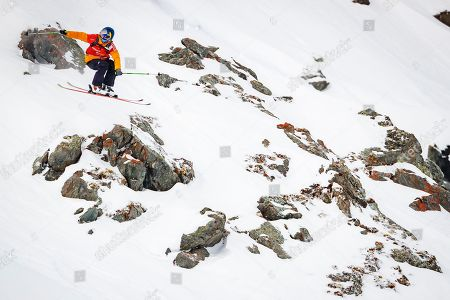 """Stock Image of Markus Eder from Italy competes to win the third place of the Mens Skiing event during the Verbier Xtreme Freeride World Tour (FWT) finals on the """"Bec des Rosses"""" mountain above the alpine resort of Verbier, Switzerland, 02 April 2018."""