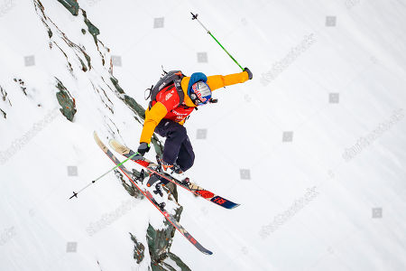 """Markus Eder from Italy competes to win the third place of the Mens Skiing event during the Verbier Xtreme Freeride World Tour (FWT) finals on the """"Bec des Rosses"""" mountain above the alpine resort of Verbier, Switzerland, 02 April 2018."""