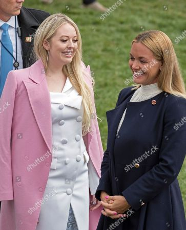 Tiffany Trump, left, and Vanessa Haydon Trump, wife of Donald Trump Jnr., right, as they attend the annual White House Easter Egg Roll on the South Lawn of the White House